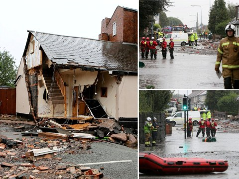 House collapses after water main bursts causing widespread damage