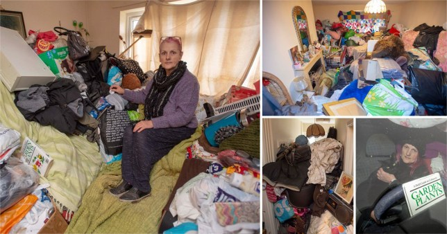 Susan Ralphs, 70, inside her home full of hoarded possessions