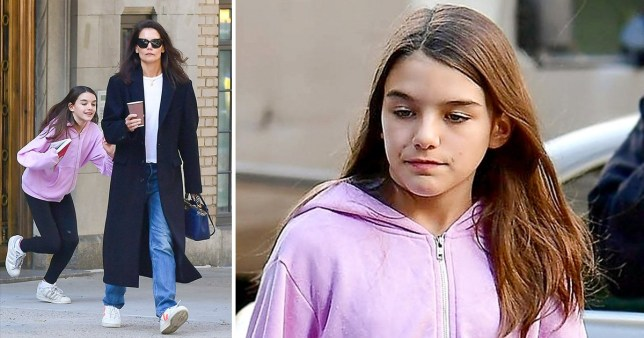 Suri Cruise is a keen reader as she holds The Handmaid's Tale on day out with mum Katie Holmes