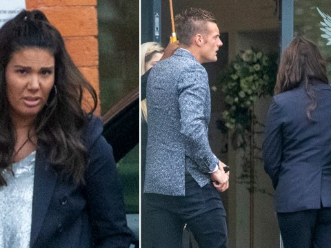Jamie Vardy sticks by Rebekah's side as tense-looking WAG emerges amid bitter war with Coleen Rooney