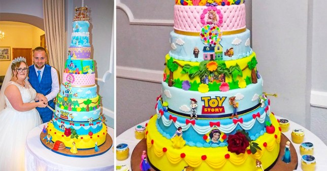 Couple have 3 foot tall Disney themed cake at their wedding
