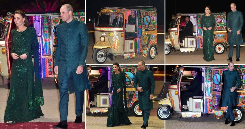 Pictures of Prince William, Duke of Cambridge and Kate Middleton, Duchess of Cambridge, arriving in a tuk tuk outside Islamabad's national monument for a reception hosted by the British High Commissioner as the pair carry out a royal tour of Pakistan