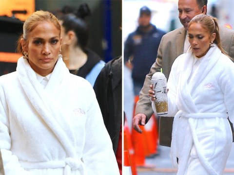 Jennifer Lopez even makes dressing gowns looks chic as she films Marry Me in New York