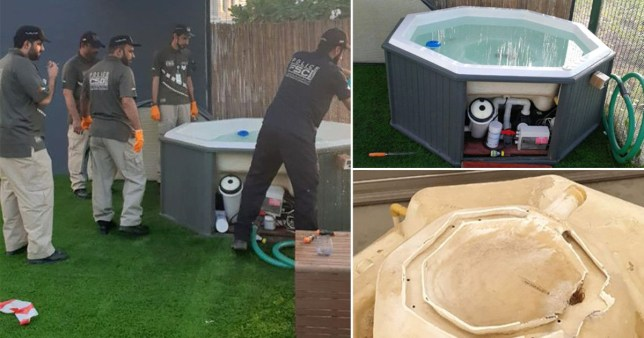 Pictures of Dubai Police investigating a hot tub after a 10-year-old girl drowned when her hair got caught in the filter