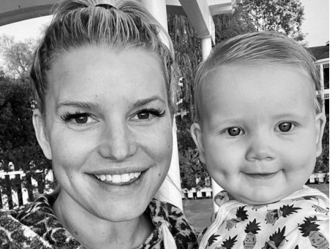 Jessica Simpson's baby has the cutest little dimples as she shows mini-me seven-month-old daughter