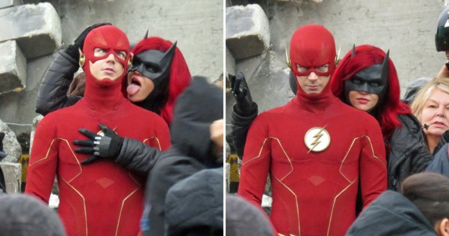 Ruby Rose pretends to lick Grant Gustin's face as Batwoman and The Flash unite for Arrowverse's Crisis On Infinite Earths