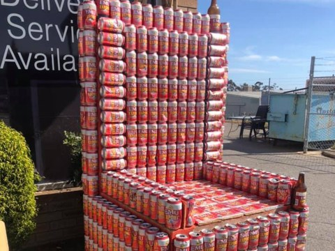 Lord of the Tinnies: You can now buy a throne made of beer cans