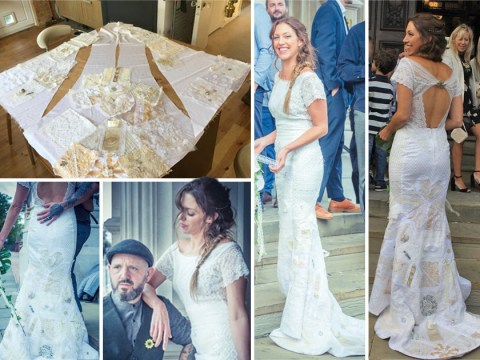 Bride ties the knot wearing a wedding dress made of patches crafted by friends and family