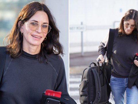 Courteney Cox all smiles as she lands in London after Jennifer Aniston breaks Instagram