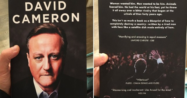 Someone has been replacing the covers on David Cameron's book