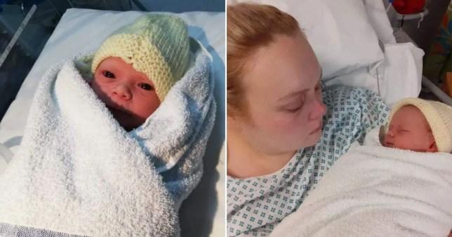 Jodie Marsden pictured in hospital with newborn son Arthur