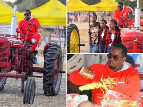 Diddy is living his best Halloween life while riding a tractor through a pumpkin patch with his kids