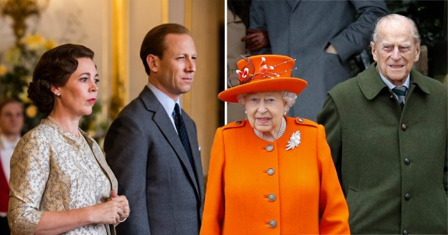 an image of the queen and prince phillip next to an image of the fictionalised versions of them played by olivia colman and tobias menzies in season 3 of the crown