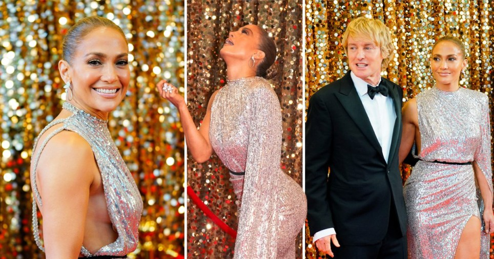 Jennifer Lopez dazzles in silver sequins on red carpet as she essentially plays herself in Marry Me