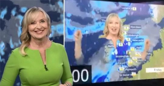 Carol Kirkwood - Green Screen blunder