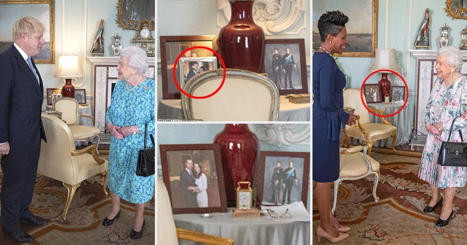 The pictures present during Boris' meeting with the Queen, were missing when Kisha Alexander-Grant held a private meeting with her Majesty this week at Buckingham Palace (Picture: AFP/Getty)
