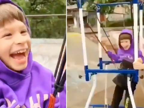 Little boy with cerebral palsy gets to try skateboarding as mum pushes him using special frame