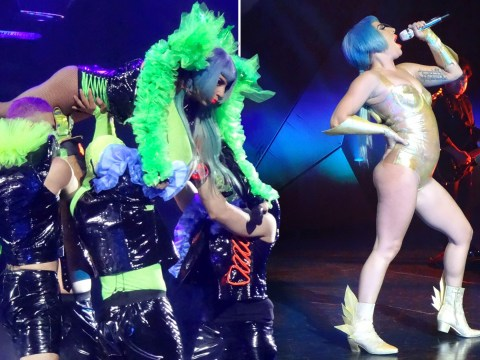 Lady Gaga braves the lifts again after she was dropped off stage by fan