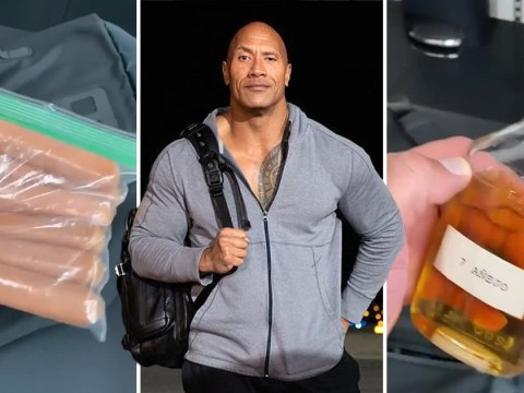 Dwayne 'The Rock' Johnson takes uncooked hotdogs and tequila to the gym