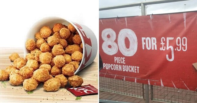 KFC is selling an 80 piece popcorn chicken bucket