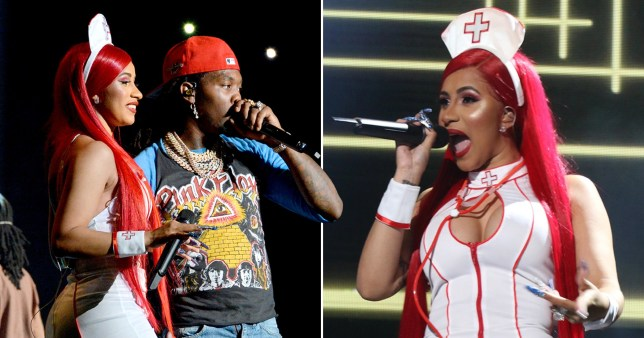 cardi b and offset performing on stage