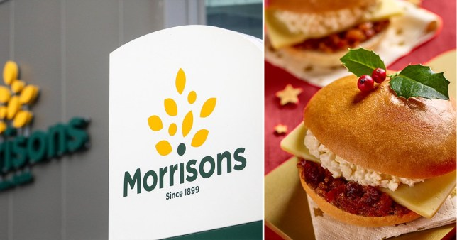 The Morrisons sign and the Morrisons mince pie sandwich