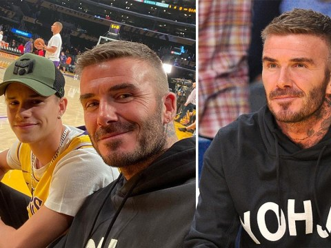 David and Romeo Beckham enjoy some father-son bonding courtside at LA Lakers game