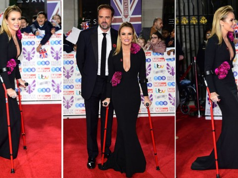 Amanda Holden makes first red carpet appearance since breaking leg as she hobbles along Pride Of Britain red carpet