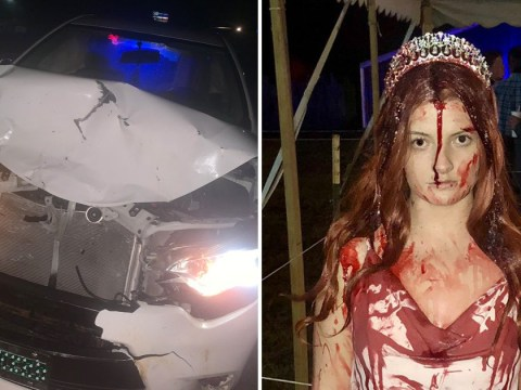 Student crashes on way home from Halloween party and medics think she's dead