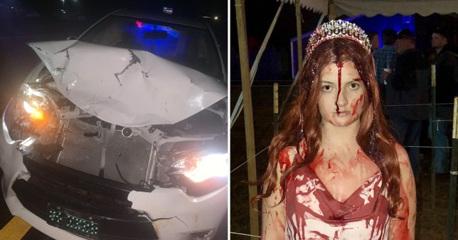 Emergency services thought woman who was dressed as Carrie was dead after she crashed her car on the way home from Halloween party