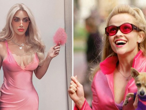 Kim Kardashian dresses as Legally Blonde's Elle Woods for Halloween and she's really serious about this lawyer thing
