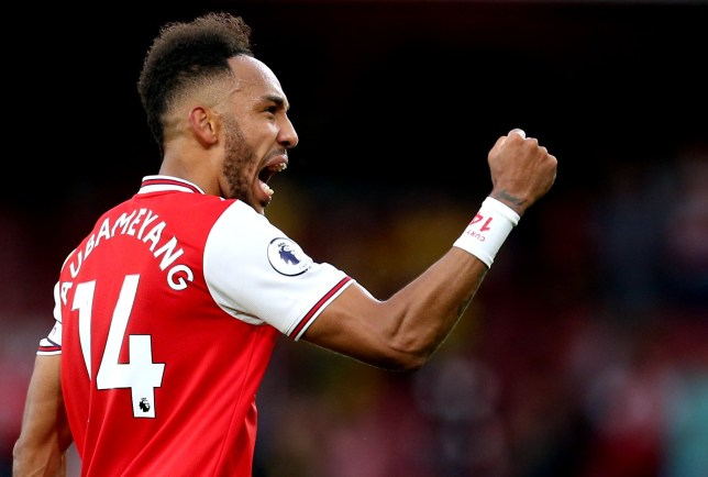Pierre-Emerick Aubameyang celebrates after scoring for Arsenal against Aston Villa