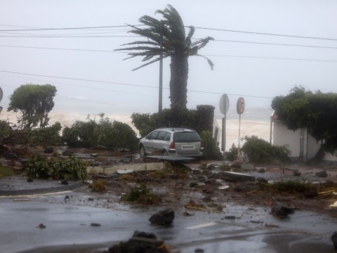 Live video shows Hurricane Lorenzo slamming into Azores
