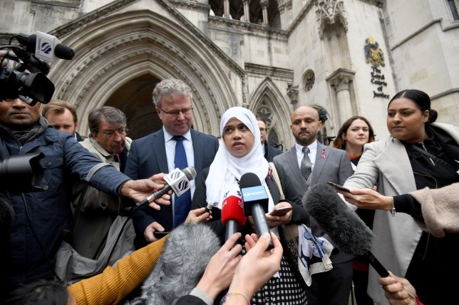 Shelina Begum and husband Mohammed Raqeeb (right) outside the Royal Courts of Justice in London, where they have won a ruling on whether treatment should be stopped for their five-year-old daughter Tafida Raqeeb. PA Photo. Picture date: Thursday October 3, 2019. See PA story COURTS Tafida . Photo credit should read: Kirsty O'Connor/PA Wire