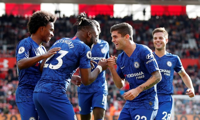 """Soccer Football - Premier League - Southampton v Chelsea - St Mary's Stadium, Southampton, Britain - October 6, 2019 Chelsea's Michy Batshuayi celebrates scoring their fourth goal with Christian Pulisic and team mates REUTERS/David Klein EDITORIAL USE ONLY. No use with unauthorized audio, video, data, fixture lists, club/league logos or """"live"""" services. Online in-match use limited to 75 images, no video emulation. No use in betting, games or single club/league/player publications. Please contact your account representative for further details."""