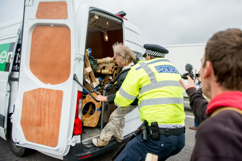 LONDON, ENGLAND - OCTOBER 07:Extinction Rebellion environmental activists seen removing bamboo from a van in morning traffic to create an action site they are calling The Beacon on Westminster Bridge on October 7, 2019 in London, England. Primarily made up of London based activists, the site is one of 12 situated around key Government locations in central London as actions are also predicted to occur in unto 70 cities around the world. The group aim to occupy the areas in central London for up to two weeks through non violent protest with an estimated 8 times as many people as their April protests which saw over 1,200 people arrested on October 7, 2019 in London, England. (Photo by Ollie Millington/Getty Images)