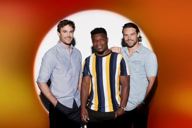 EMBARGOED TO 0001 TUESDAY OCTOBER 08 MANDATORY CREDIT REQUIRED: SYCO/THAMES TV Undated handout photo issued by ITV of Thoma Evans, Levi Davis and Ben Foden as Try Star in the new ITV series of The X Factor: Celebrity. PA Photo. Issue date: Tuesday October 8, 2019. See PA story SHOWBIZ XFactor. Photo credit should read: Syco/Thames TV/PA Wire NOTE TO EDITORS: This handout photo may only be used in for editorial reporting purposes for the contemporaneous illustration of events, things or the people in the image or facts mentioned in the caption. Reuse of the picture may require further permission from the copyright holder.