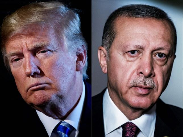 Composite image of Donald Trump next to Turkish President Recep Tayyip Erdogan