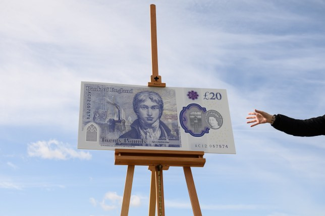 MARGATE, ENGLAND - OCTOBER 10: A large scale sample of the new twenty pound note is seen during the launch event for the new note design at the Turner Contemporary gallery on October 10, 2019 in Margate, England. (Photo by Leon Neal/Getty Images)