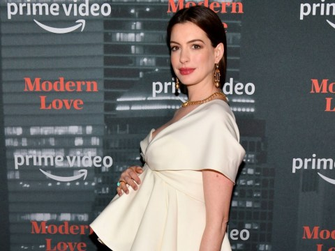 Anne Hathaway cradles baby bump on red carpet for new show Modern Love
