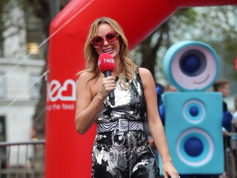Amanda Holden slips into sparkly jumpsuit as she supports Jamie Theakston after charity bike ride