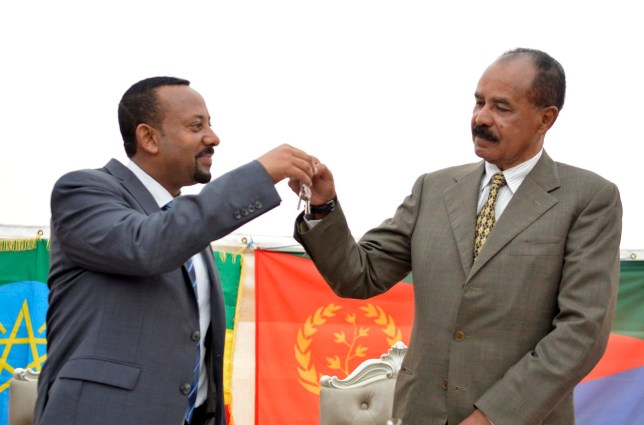 Ethiopia's Prime Minister Abiy Ahmed Ali (L) and Eritrea's President Isaias Afwerki (R) clink their glasses for a toast as they attend the re-opening of the Eritrean embassy in the Ethiopian capital Addis Ababa, Ethiopia,16 July 2018 (reissued 11 October 2019). Abiy Ahmed was awarded with the 2019 Nobel Peace Prize, the Norwegian Nobel Committee announced 11 October 2019. EPA/STRINGER