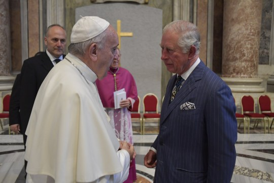 VATICAN CITY, VATICAN - OCTOBER 13: Prince Charles, Prince of Wales meets Pope Francis during the canonisation of Cardinal Newman held by Pope Francis at St. Peter's Square on October 13, 2019 in Vatican City, Vatican. Cardinal Newman is the first English saint since the Forty Martyrs were canonised in 1970, and the first British saint since St John Ogilvie in 1976. (Photo by Arthur Edwards - Pool/Getty Images)