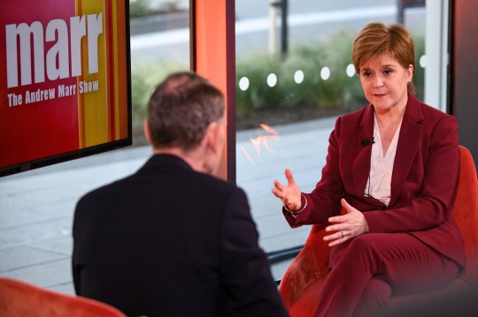 """Presenter Andrew Marr and First Minister of Scotland Nicola Sturgeon, during the Andrew Marr show. Nicola Sturgeon has told Jeremy Corbyn """"don't even bother picking up the phone"""" to ask the SNP to support a Labour government unless he backs an independence vote. PA Photo. Picture date: Sunday October 13, 2019. Scotland's First Minister was asked if she would consider a coalition with Labour in the event of a general election that saw it emerge as the largest party, but without an overall majority. The SNP leader said she would favour a """"progressive type of alliance"""" if the Tories were ousted from power. She told the BBC's Andrew Marr Show: """"But I say this to Jeremy Corbyn or any Westminster leader who's looking to the SNP for support, if you don't accept Scotland's right to choose our own future at a time of our own choosing, don't even bother picking up the phone to me."""" See PA story POLITICS Sturgeon. Photo credit should read: Jeff J Mitchell/PA Wire"""