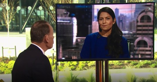 Priti Patel told to stop laughing by Marr BBC