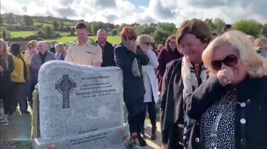 UNCLEARED GRABS - Irish funeral bursts into laughter when pre-recorded message of dead man calling out to be freed from the coffin is played