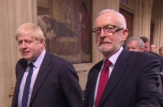 State Opening of Parliament October 2019 Boris Johnson gave sideways glance to stoney-faced Jeremy Corbyn as they entered the Lords But even Corbyn was forced to crack a smile as cameraman got in his way Picture by Pixel8000 07917221968