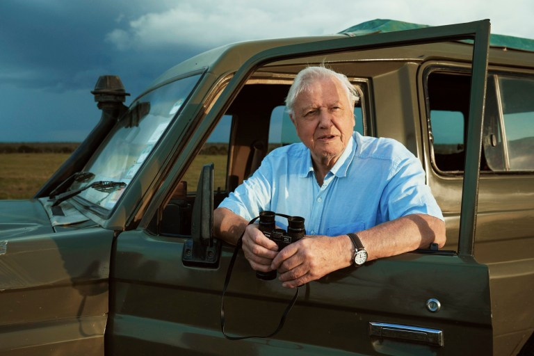 Sir David Attenborough on location while filming for Seven Worlds, One Planet