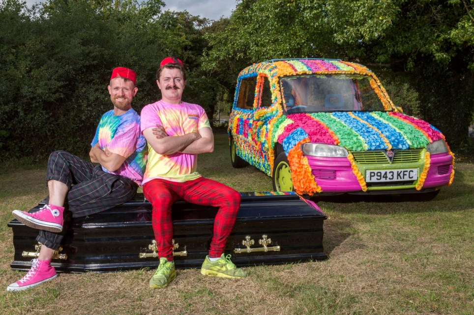 Friends Matthew Clowes (left) and David Gersch with their rainbow hearse which they covered by hand with 12,000 coloured flowers. They are aiming to bring a smile to the funeral business by celebrating life with a colourful send off ***Pic by David McHugh / Brighton Pictures 07768 721637***