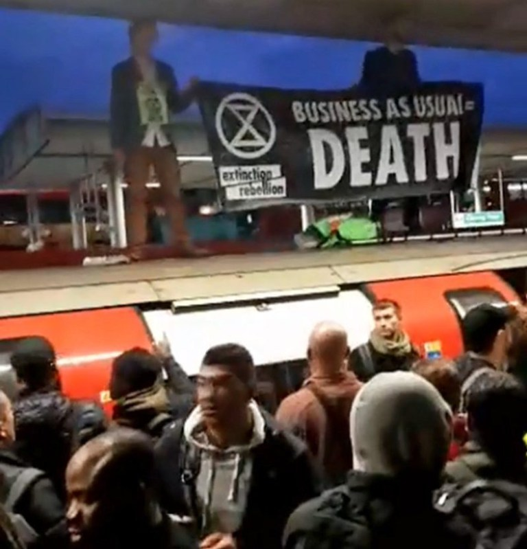 Canning Town underground station (Picture: Extinction Rebellion)